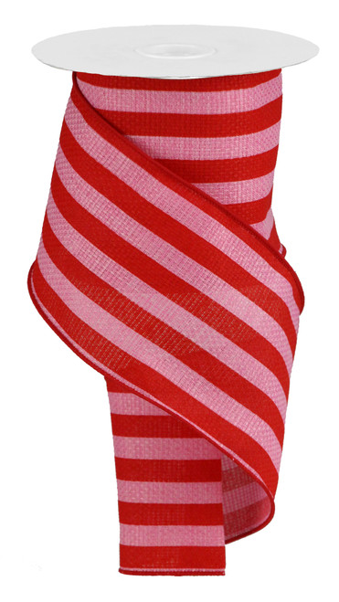 "4"" Vertical Stripe on Faux Burlap Ribbon: Red/Pink - 10 Yds"