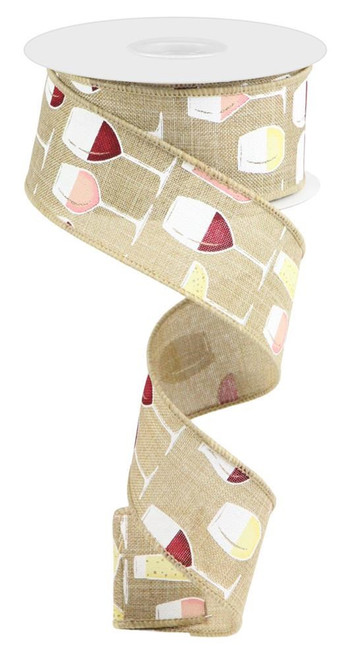 "1.5"" Wine Glasses Ribbon: Beige - 10Yds"