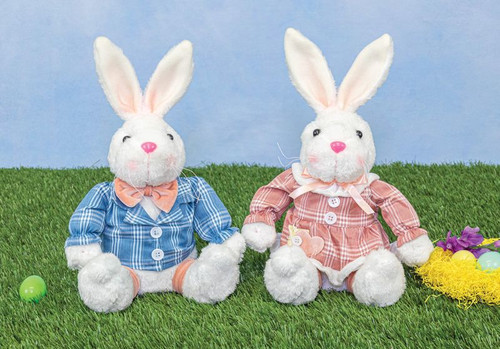 Plaid Thumpy Bunny Sitters: Pink/Blue