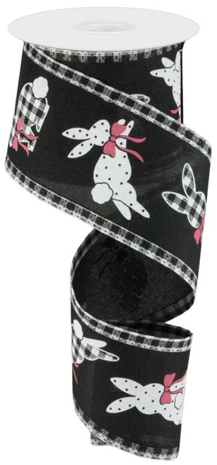 "2.5"" Pattern Bunny Ribbon Gingham Edge: Blk/Wht - 10Yds"
