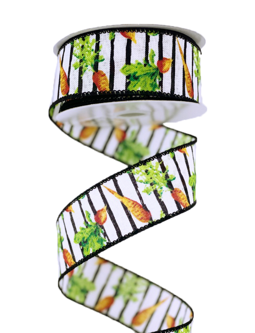 "1.5"" Blk/Wht Stripe Vegetable Ribbon - 10Yds"