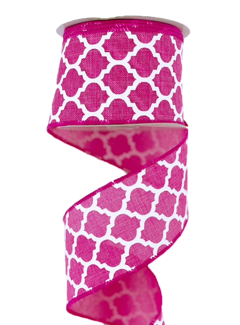 "2.5"" x 10yd Canvas Quatrefoil Ribbon: Fuchsia/White"