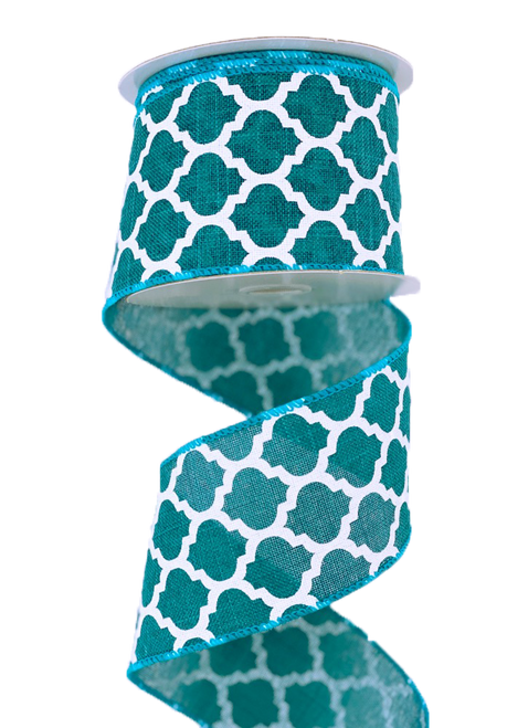 "2.5"" x 10yd Canvas Quatrefoil Ribbon: Teal/White"