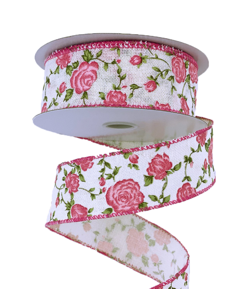 "1.5"" Ivory Canvas Pink Rose Ribbon"