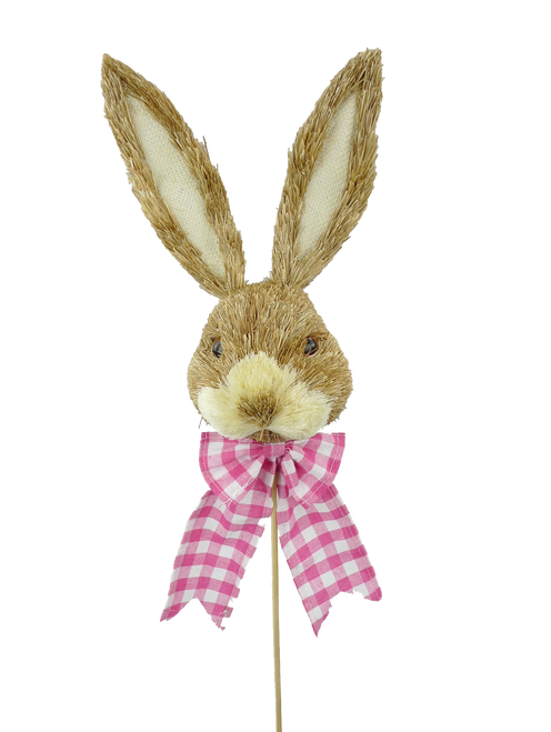 "23"" Bunny Head Pick w/ Pink Check Bow"
