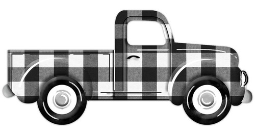 "12"" Embossed Metal Vintage Truck:  Blk/Wht Check"