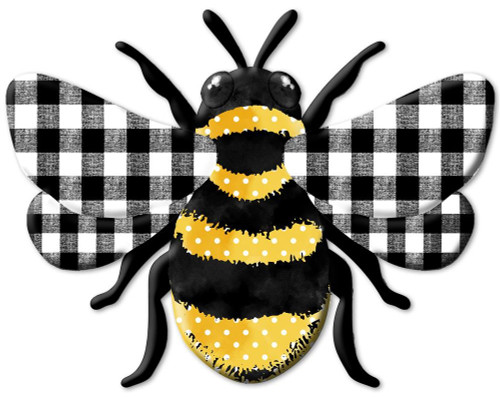 "12"" Embossed Metal Polka Dot Check Bee"