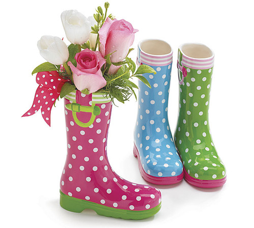 Ceramic Rain Boot Vases