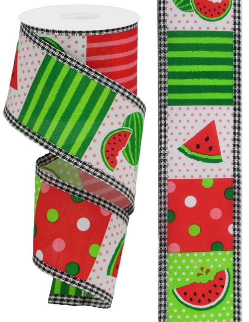 "2.5"" Watermelon Block Gingham Edge Ribbon - 10Yds"