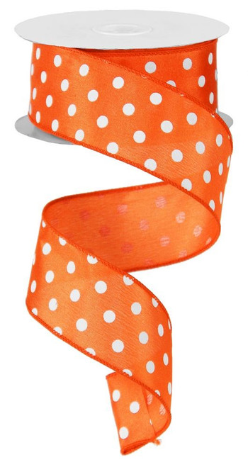"1.5"" Small Polka Dot Ribbon: Orange/White - 10yds"