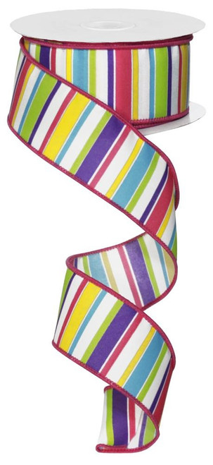 "1.5"" Clay's Horizontal Stripe Ribbon: White/Multicolor - 10Yds"