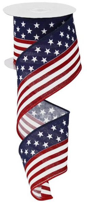 "2.5"" Stars and Stripes Flag Ribbon on Canvas - 100ft"