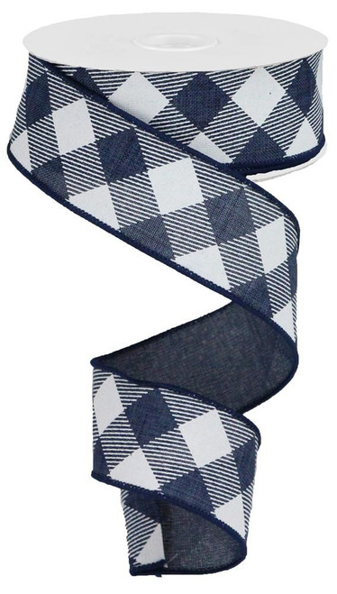 "1.5"" Diagonal Check Ribbon: Navy Blue/White - 10Yds"