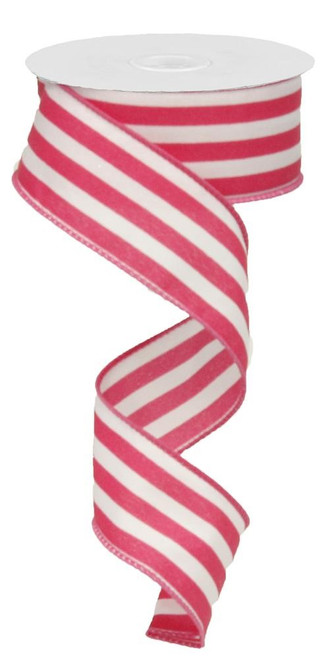 "1.5"" Vertical Striped Ribbon: Fuchsia/White-10Yds"