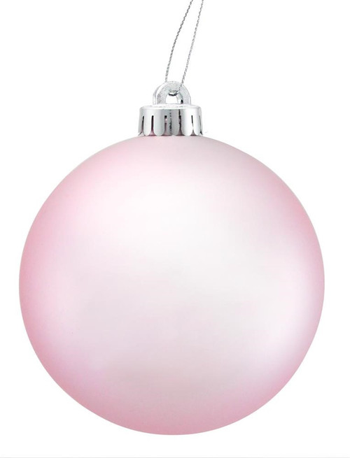100mm Ball Ornament: Matte Icy Pink