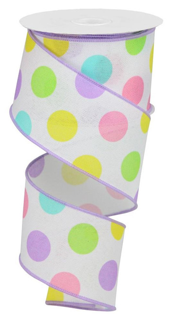 "2.5"" Multicolor Polka Dot Linen Ribbon: Wht/Pastel - 10Yds"