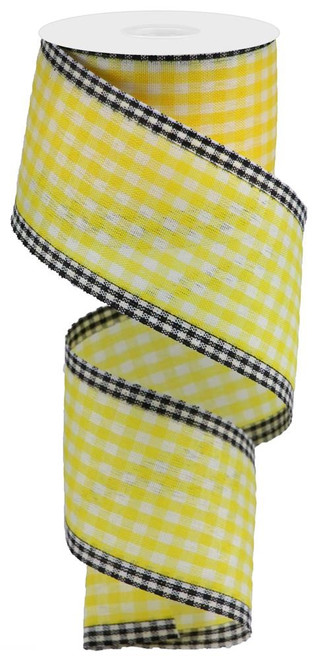 "2.5"" Gingham Check/Edge Ribbon: Yllw/Wht/Blk"