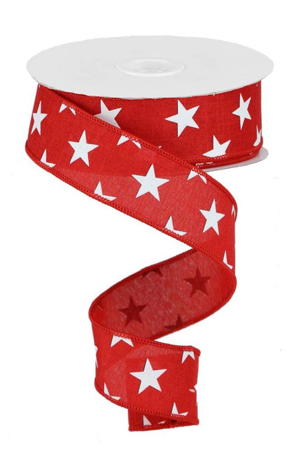"1.5"" Linen White Star Ribbon: Red - 100ft"