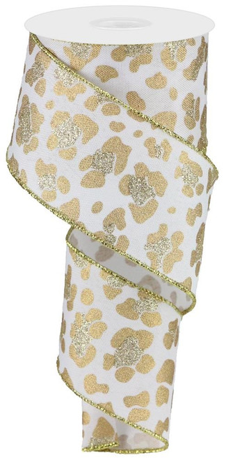 "2.5"" Leopard Print Ribbon:  White/Gold -  10yds"