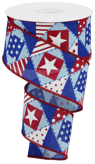 "2.5"" Patriotic Patchwork Ribbon: Red/Wht/Blue - 10Yds"