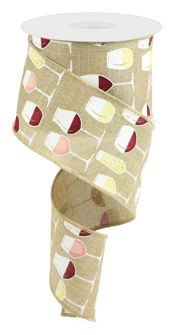 "2.5"" Wine Glasses Ribbon: Lt Beige - 10Yds"