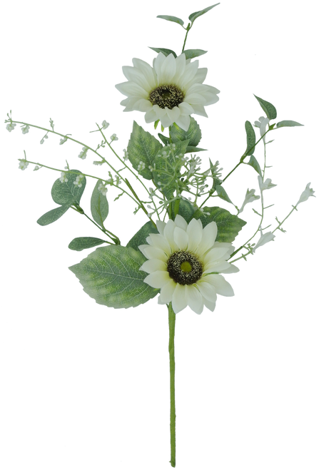 "19"" White Sunflower Spray"