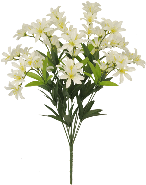 "20"" Satin Freesia Bush: White"