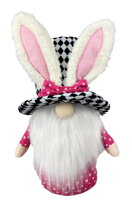 Harlequin Bunny Top Hat Gnome: Pink
