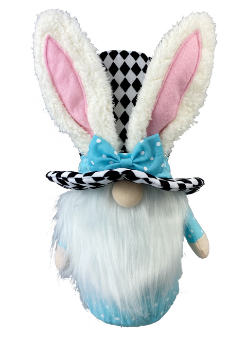 Harlequin Bunny Top Hat Gnome: Blue