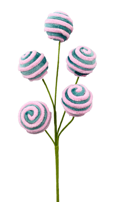 Pink/Blue Chenille Ball Spray