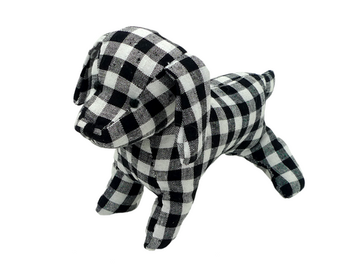 "10"" Blk/Wht Check Puppy Dog"