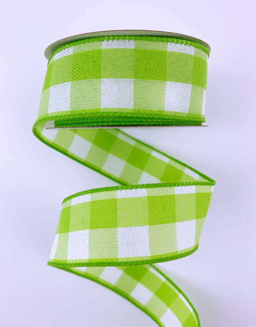 "1.5"" Lime Green/Wht Lg Check Ribbon - 10yds"