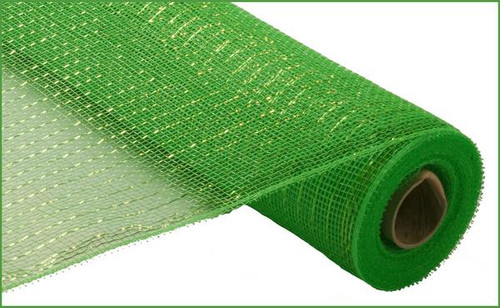 """Lime Green with Lime Green Foil Deco Mesh - 21"""" X 10Yd"""