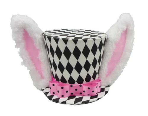 "6"" Harlequin Top Hat w/ Ears: Blk/Wht/Pink"