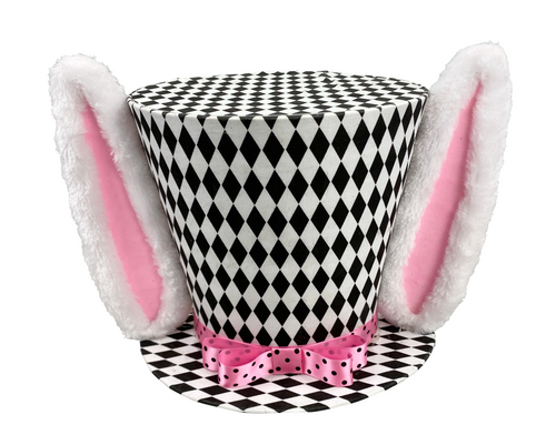 "13.5"" Harlequin Top Hat w/ Ears: Blk/Wht/Pink"