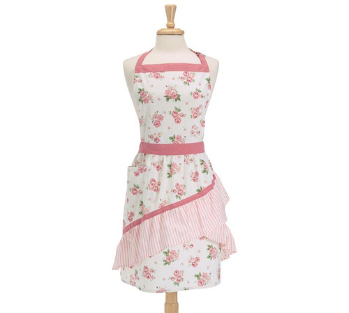 Pink Rose Pattern Adult Apron