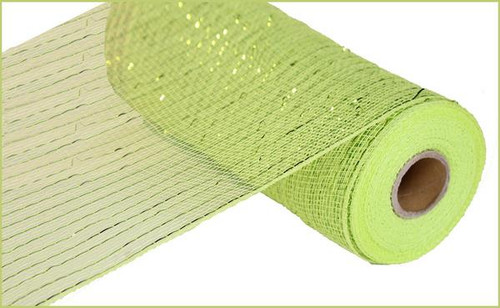 "10"" Deco Mesh: Metallic Apple Green with Lime Green Foil"