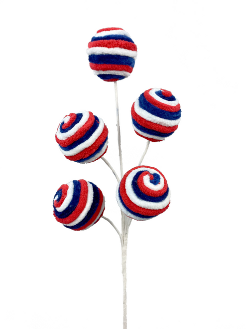 "17"" Red/White/Blue Chenille Ball Spray"