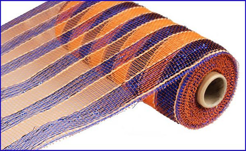 "10"" Deco Poly Mesh: Metallic Royal Blue and Orange Stripe"