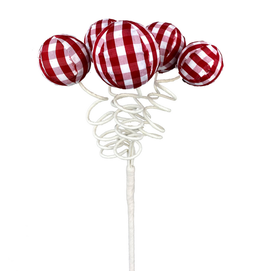 "16"" Gingham Ball Pick: Red/Wht"