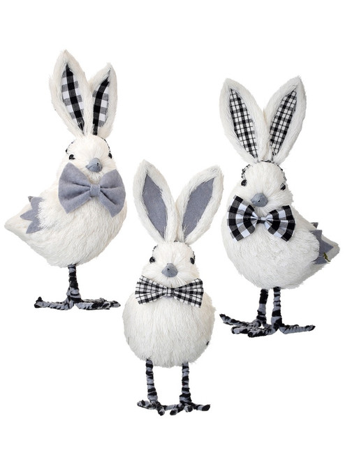"9"" Bowtie Easter Chicks: Blk/Wht"