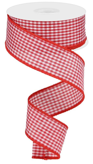 "1.5"" Mini Red/White Gingham Check Ribbon - 10Yds"