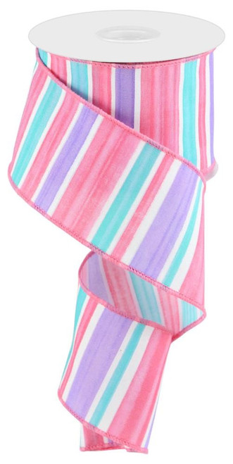 "2.5"" Spring Watercolor Stripe Ribbon: Lav/Pink/Turq/Wht - 10yds"