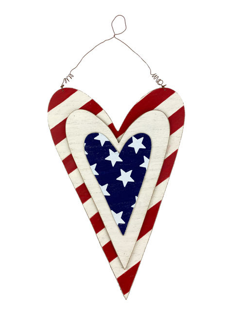 "16"" Layered Stars/Stripes Heart Sign"