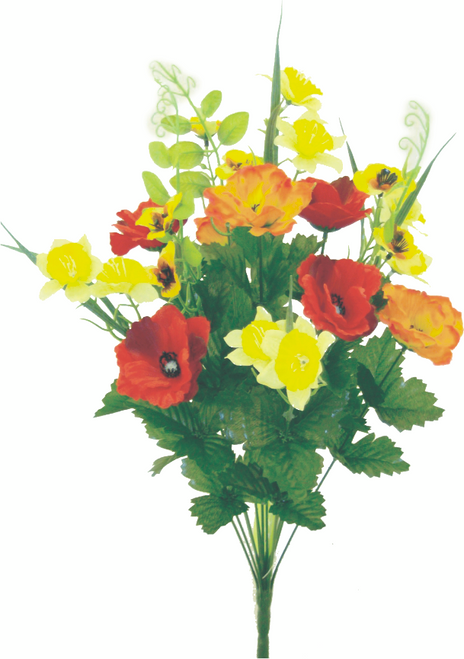 "21"" Poppy Daffodil Bush: Org/Yllw/Red"