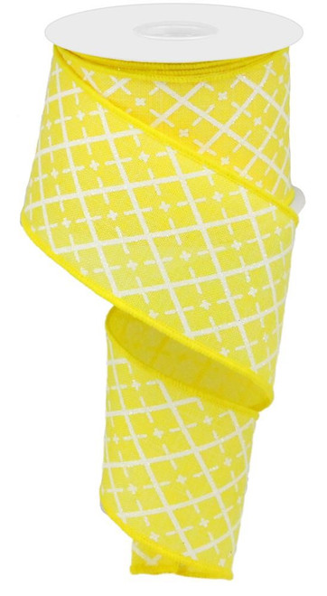 "2.5"" Glittered Argyle Ribbon: Yellow (10yds)"