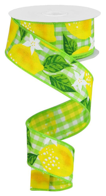 "1.5"" Lemon on Check Ribbon: Green - 10Yd"
