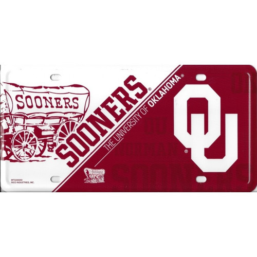 University of Oklahoma Sooners Embossed Metal License Plate