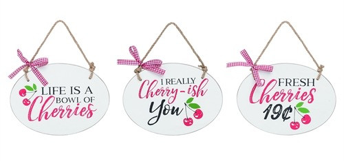 Gingham Cherry Signs