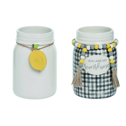 Lemon Themed Mason Jars